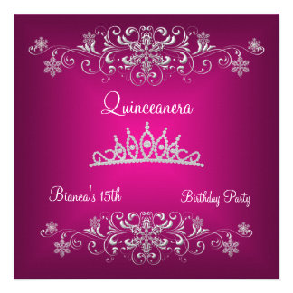 Quinceanera 15th Pink Silver Diamond Tiara Announcements