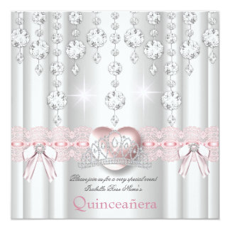 Quinceanera 15th Pink Silver Heart Diamonds 2 Card