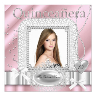 Quinceanera 15th Pink White Lace Pearl Photo Personalized Announcement