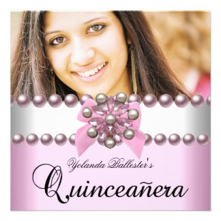 Quinceanera 15th Pink White Pink Pearl Bow Photo Announcement