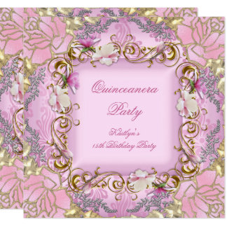 Quinceanera 15th Pretty Pink Damask Gold Floral Card