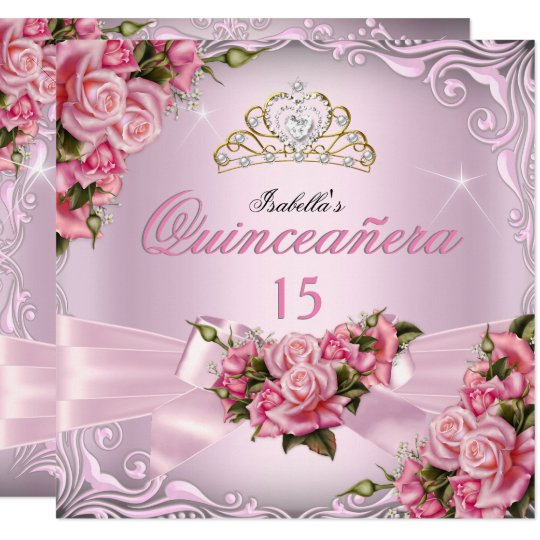 Quinceanera 15th pretty pink roses tiara birthday invitation quinceanera 15th pretty pink roses tiara birthday invitation filmwisefo