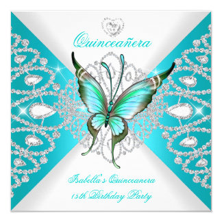 Quinceanera 15th Pretty Teal Blue Butterfly Tiara Card