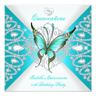 Quinceanera 15th Pretty Teal Blue Butterfly Tiara Personalized Invitation