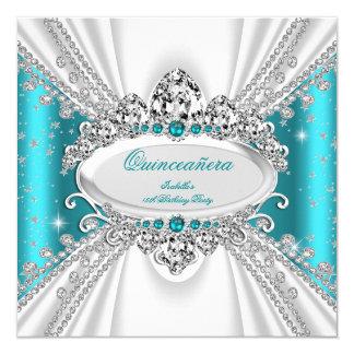 Quinceanera 15th Princess Teal Tiara Diamonds Card