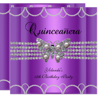 Quinceanera 15th Purple Butterfly Pearl Lace Card