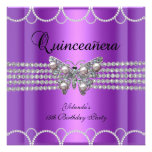 Quinceanera 15th Purple Butterfly Pearl Lace Announcement