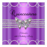 """Quinceanera 15th Purple Butterfly Pearl Lace 5.25"""" Square Invitation Card"""
