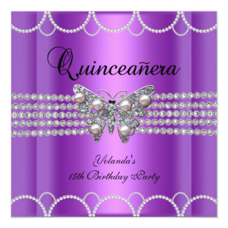 Quinceanera 15th Purple Butterfly Pearl Lace 5.25x5.25 Square Paper Invitation Card