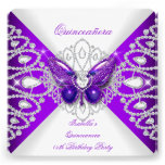 Quinceanera 15th Purple Butterfly Tiara Party 2 Custom Invitations