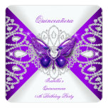 """Quinceanera 15th Purple Butterfly Tiara Party 2 5.25"""" Square Invitation Card"""