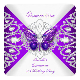 Quinceanera 15th Purple Butterfly Tiara Party 2 5.25x5.25 Square Paper Invitation Card