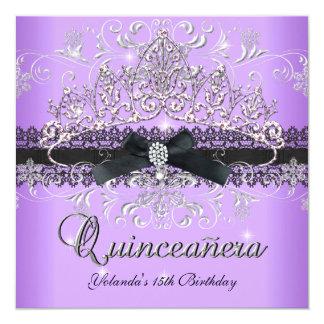 Quinceanera 15th Purple Glitter Tiara Black Bow Card