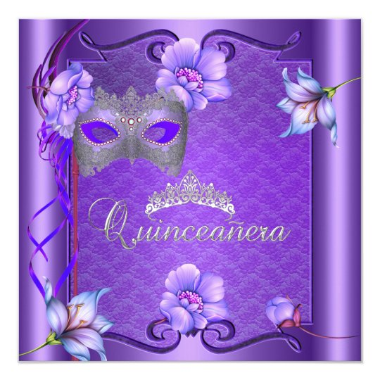 Quinceanera 15th Purple Mask Card