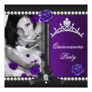 Quinceanera 15th Purple Rose Black Pearl Card