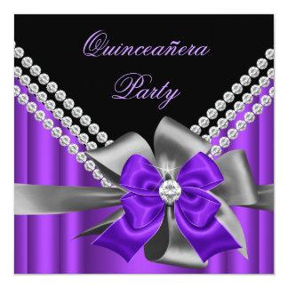 Quinceanera 15th Purple Silver Grey Bow Diamonds Invitation