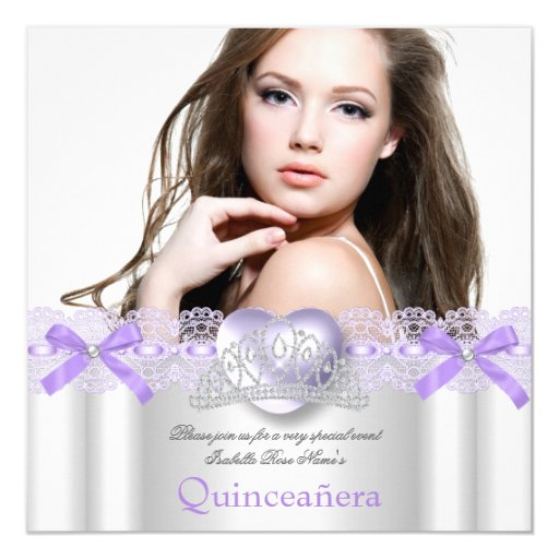 Quinceanera 15th Purple Silver Heart Lace Photo 2 Card