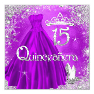 Quinceanera 15th Purple Silver Snowflakes Party 2 Card