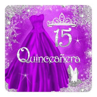 Quinceanera 15th Purple Silver Snowflakes Party 2 Invitation