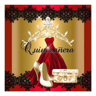 Quinceanera 15th Red Black Gold Diamond Tiara Card