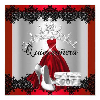 Quinceanera 15th Red Black Silver Diamond Tiara Card