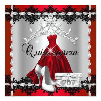 Quinceanera 15th Red Black Silver Diamond Tiara Invites