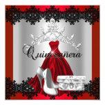 Quinceanera 15th Red Black Silver Diamond Tiara 5.25x5.25 Square Paper Invitation Card