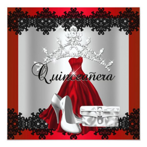 Quinceanera 15th Red Black Silver Diamond Tiara Personalized Announcements