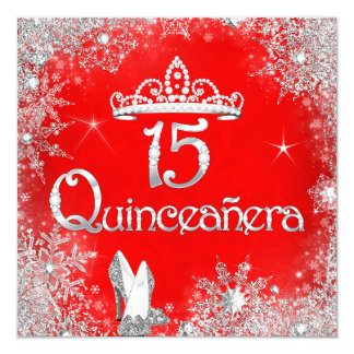 Quinceanera 15th Red Silver Snowflakes Party 2 Card
