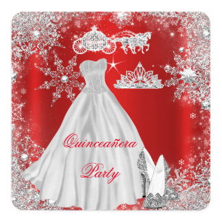 Quinceanera 15th Regal Red Birthday Party Card