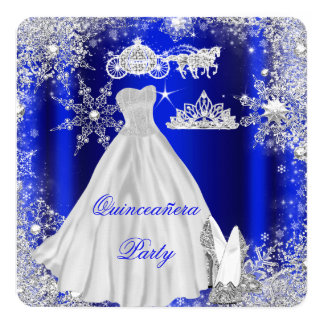 Quinceanera 15th Royal Blue Birthday Party Card