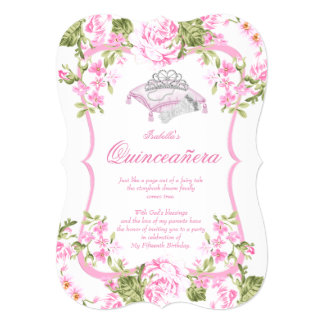 Quinceanera 15th Sweet Pink Roses Flowers Card