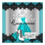 Quinceanera 15th Teal Black Silver Diamond Tiara Announcement