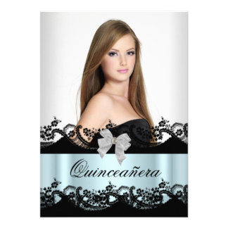 Quinceanera 15th Teal Black White Lace Photo Custom Announcement