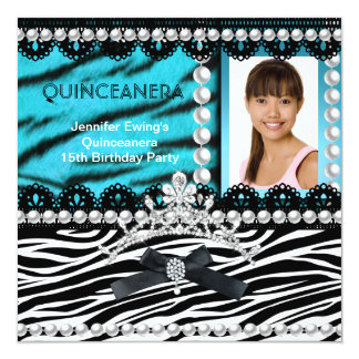 Quinceanera 15th Teal Black Zebra Pearl Tiara Custom Invites
