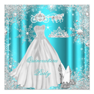 Quinceanera 15th Teal Blue Birthday Party Card