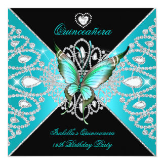 Quinceanera 15th Teal Blue Black Butterfly Tiara Card