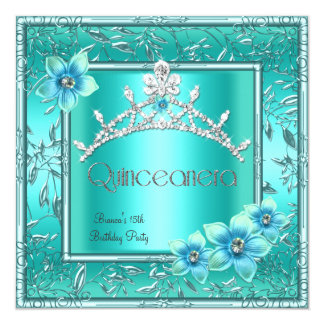 Quinceanera 15th Teal Blue Flower Silver Tiara Custom Invite