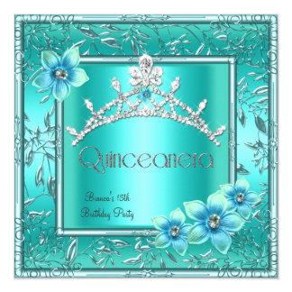 Quinceanera 15th Teal Blue Flower Silver Tiara 5.25x5.25 Square Paper Invitation Card