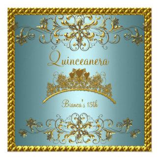 Quinceanera 15th Teal Blue Gold Tiara Announcement