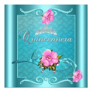 Quinceanera 15th Teal Blue Pink Silver Floral Card