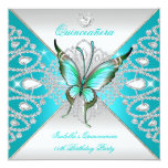 """Quinceanera 15th Teal Blue Silver Butterfly Tiara 5.25"""" Square Invitation Card"""