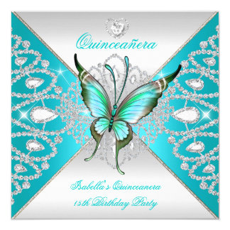 Quinceanera 15th Teal Blue Silver Butterfly Tiara 5.25x5.25 Square Paper Invitation Card