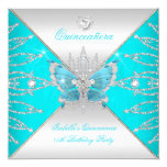 Quinceanera 15th Teal Blue Silver Butterfly Tiara Invitation