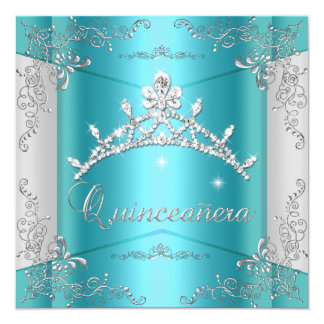 Quinceanera 15th Teal Blue Silver Tiara 5.25x5.25 Square Paper Invitation Card