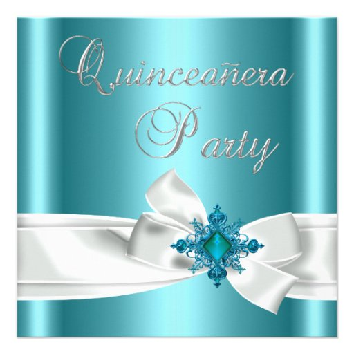 Quinceanera 15th Teal Blue Silver White Bow Custom Invitations