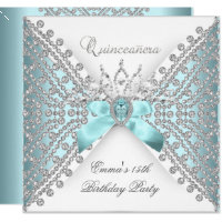 Quinceanera 15th Teal Blue Silver White Diamond Card