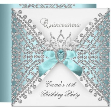 Zizzago Quinceanera 15th Teal Blue Silver White Diamond Card
