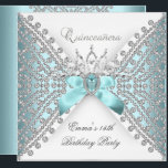 "Quinceanera 15th Teal Blue Silver White Diamond Invitation<br><div class=""desc"">Quinceanera 15th  Birthday Party Teal Blue Silver White Diamond Tiara Elegant Diamonds Silver ,  Celebration Party Invitation. Customise with your own details. This Design Style is Copyrighted &#169; Content and Designs &#169; 2000-2012 Zizzago™ (Trademark) and it&#39;s licensors          com</div>"