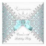 Quinceanera 15th Teal Blue Silver White Diamond Invitation